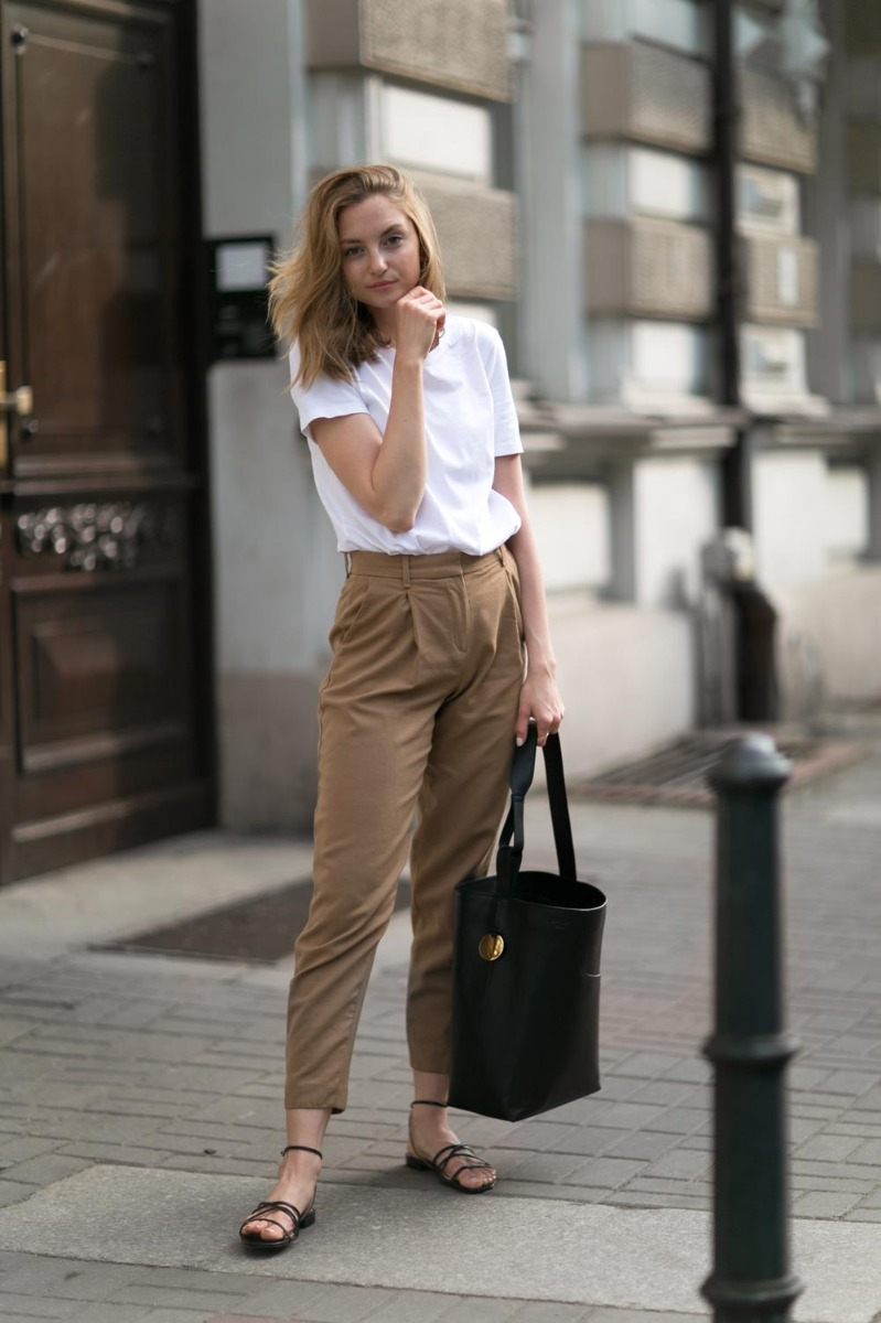 casual everyday style black sandals brown pants white tee